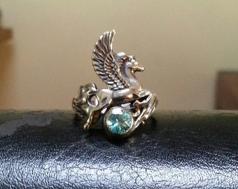 PEGASUS rong,Sterling silver,mythical,horse, unicorn, fantasy,new age, boho,hippy, art nouveau,goddess,handmade,shic,women's fashion,gypsy