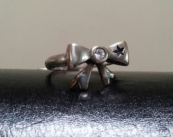 Bow ring sterling silver cubic zirconia ribbon bow rockabilly victorian