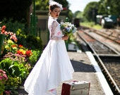SALE Size 8. pastel floral satin, lace & ivory silk wedding dress, with pockets high low hem and a train, with long sleeves