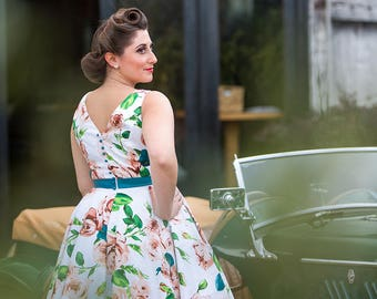 Made to Order, 50s inspired floral boat neck full circle occasion or bridesmaid dress, UK sizes 6-24