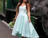 SALE Size 10, mint green high low wedding / occasion dress, with a sweetheart neckline and gorgeous ivory lace detail