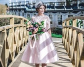 Made to order, 50s inspired pink and ivory lace bateau neckline wedding dress, with 3/4 sleeves, UK sizes 6-24