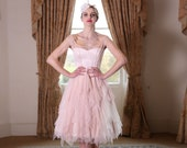 Blush pink glitter tulle layered tea length wedding dress. Made to order in UK sizes 6-24