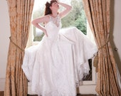 Ivory leaf tulle A-line wedding dress, with covered button back fastening, made to order in UK sizes 6-24