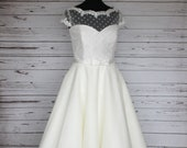 Ivory polka dot and tulle...