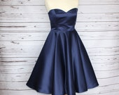 SALE Size 16.  Navy 50s style duchess satin sweetheart neckline, circle swing occasion dress with pockets