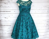 Made to Order, 50s style emerald green lace dress with boat neckline, navy satin sweetheart base, circle dress with pockets, sizes UK 6-24