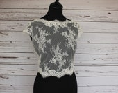 SALE size 10. Ivory bridal lace top overlay cover up with capped sleeves. Button back wedding bolero, with boat neckline.