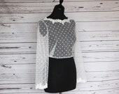 SALE Size 20. Ivory bridal polka dot tulle top overlay with floral lace trim. Boat neck & button back lace topper.