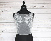 Bridal illusion top overlay, with smoke grey blue appliques and button back, cover up, lace topper, bridal separates, UK sizes 6-24