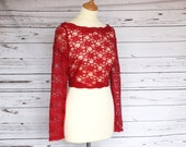 SALE Size 10, Long sleeve corded lace top overlay, bridesmaid or wedding guest cover up, LUCY top, your choice of colour
