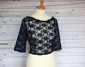 SALE Size 16. Navy elbow length sleeve, corded lace top overlay, bridesmaid or wedding guest cover up, POLLY top