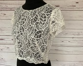 Ivory leaf lace bridal top, with open back and scalloped edging, made to order in UK sizes 6-24