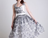 SALE Size 12, 50s inspired grey and white floral organza halter neck dress, with a sweetheart neckline