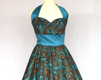 Made to Order, 50s inspired Peacock print full circle dress, sweetheart neckline halter with collar, available sizes UK 6-24