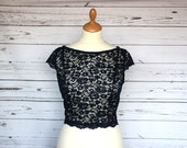 Capped sleeve, lace top overlay, bridesmaid or wedding guest cover up, KELLY top, choice of colour