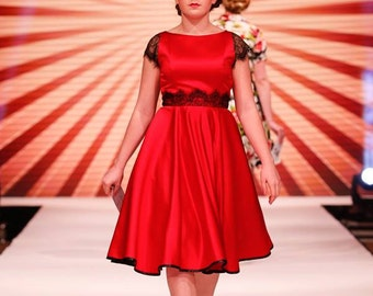 Made to Order, Deep red 50s style duchess satin full circles dress with black eyelash lace capped sleeves and waist detail, sizes UK 6-24