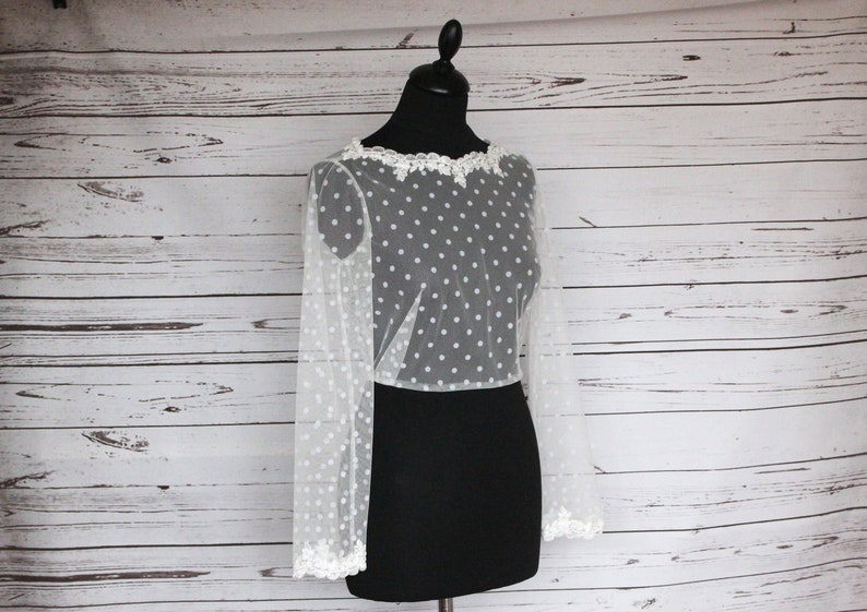 Ivory bridal polka dot tulle top overlay with floral lace image 0