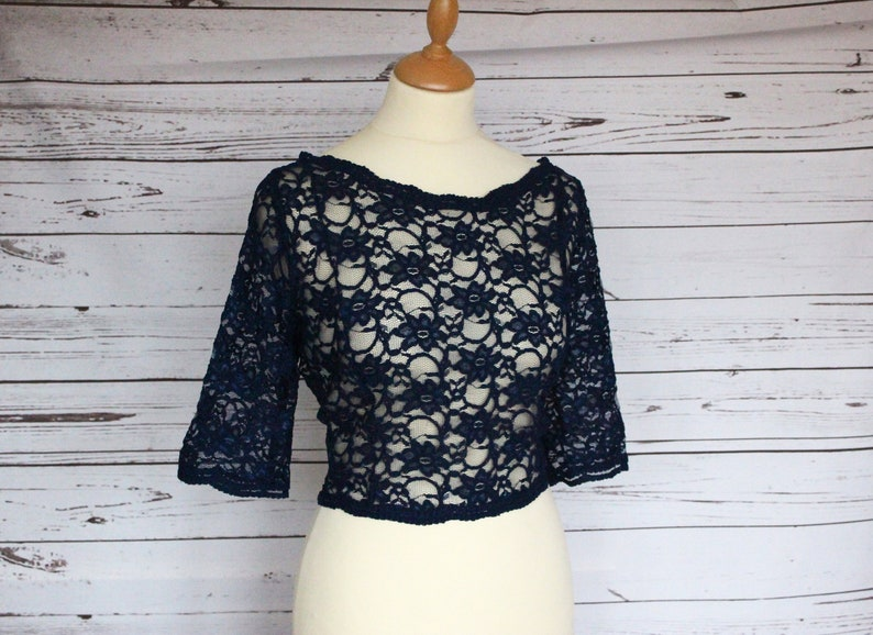 Elbow length sleeve choice of colour POLLY top bridesmaid or wedding guest cover up corded lace top overlay