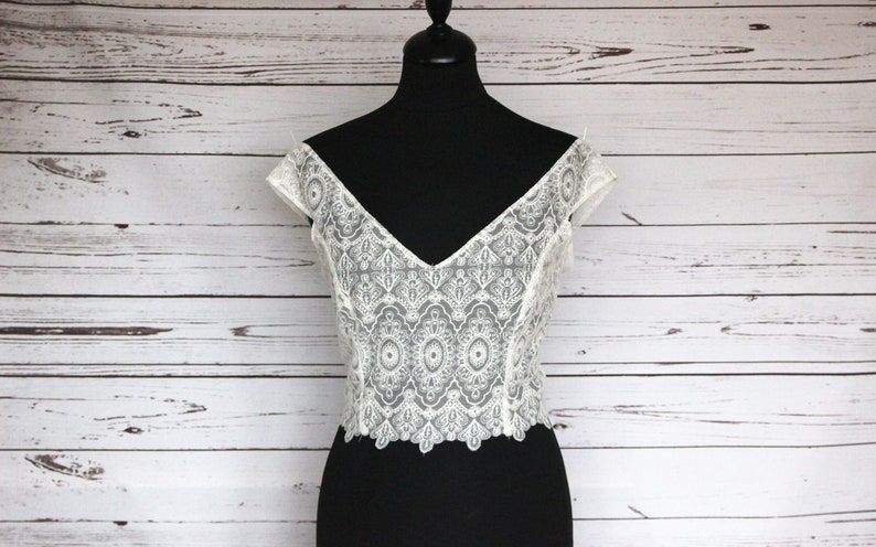 Ivory bridal embroidered lace off shoulder top overlay with image 0