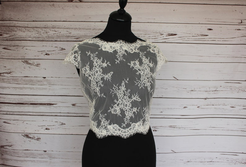 Ivory bridal lace top overlay boat neck cover up button image 0