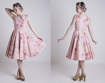 Made to Order, 50s inspired pink floral boat neck full circle bridesmaid dress, UK sizes 6-24