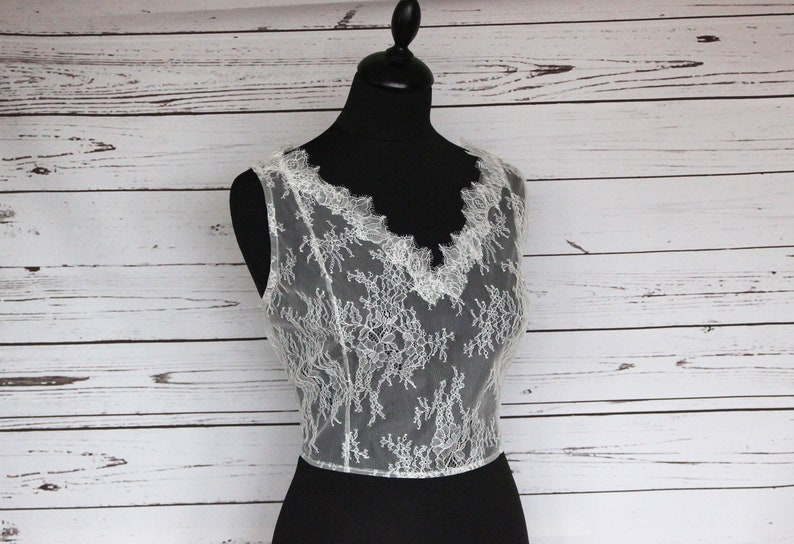 Bridal sleeveless V-neck lace top overlay cover up button image 0