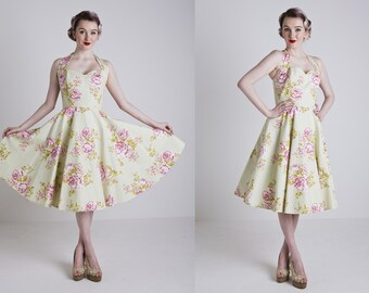 Made to Order, 50s inspired sage green and pink floral sweetheart halter-neck full circle dress, UK sizes 6-24