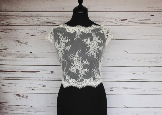 White Lace Bridal V Back with Button detail  cover up  Bolero in sizes UK  8 to 18