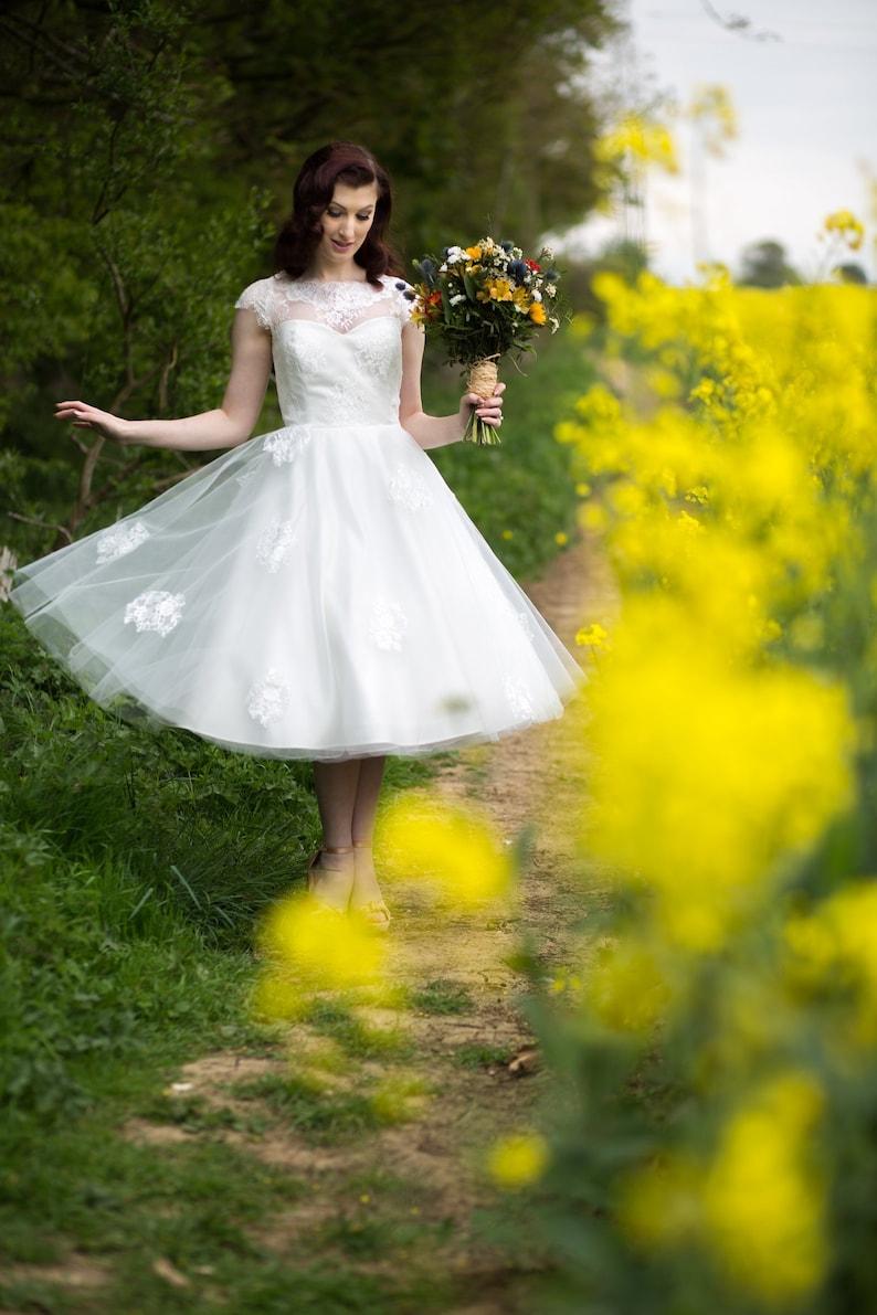 Ivory tea length wedding dress 50s style lace dress with image 0