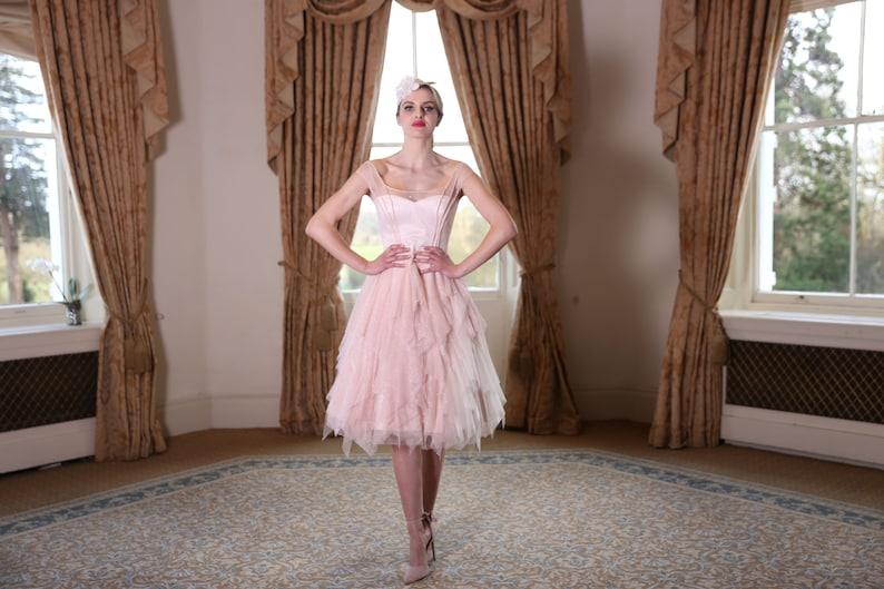 Blush pink glitter tulle layered tea length wedding dress. image 0