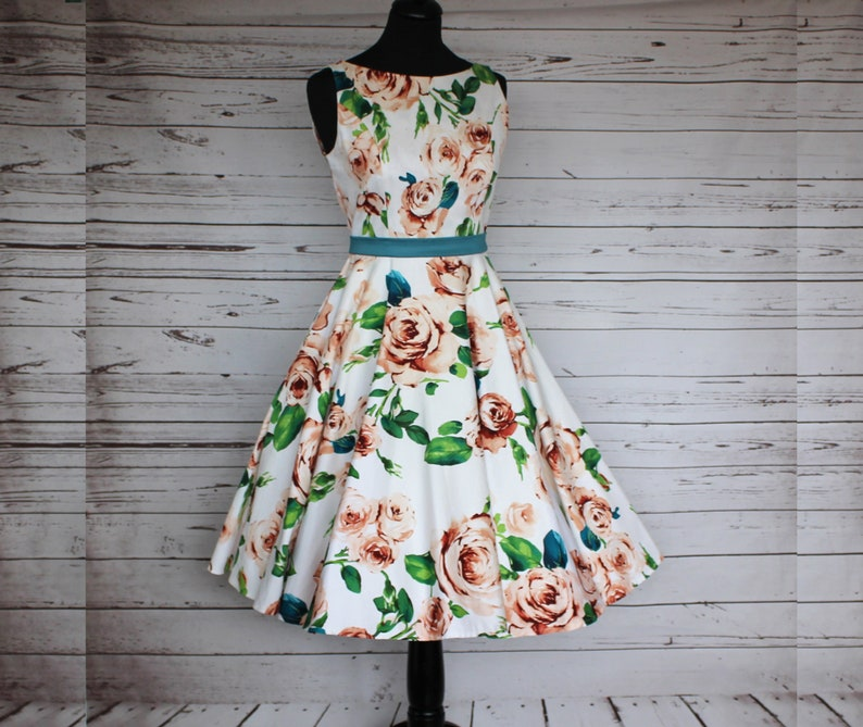 50s style dress floral boat neck full circle swing dress image 0