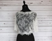 Ivory delicate lace bridal top, with covered button back and scalloped edging, made to order in UK sizes 6-24
