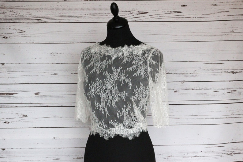 Ivory delicate lace bridal top with covered button back and image 0
