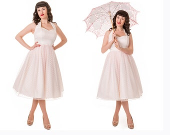 Made to Order, 50s inspired halter dress in an Ivory duchess satin, with a baby pink spot tulle overlay, sweetheart neckline, sizes UK 6-24