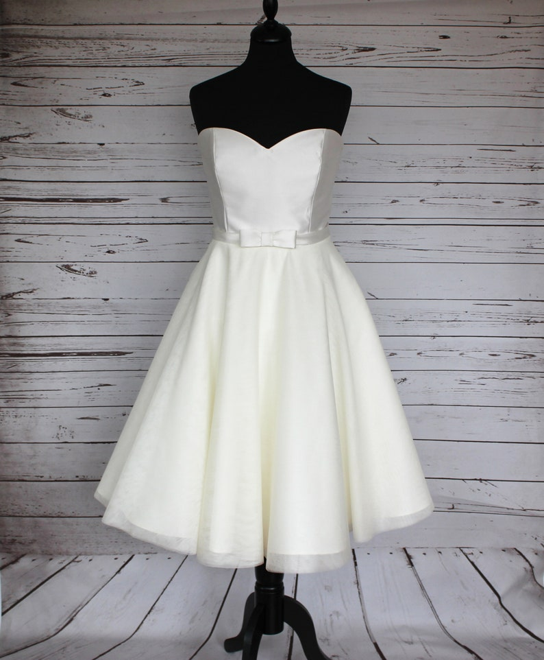 Mikado and tulle tea length 50s style wedding dress image 0