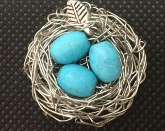 Bird nest pendant, pendant, birds nest brooch, bluebird eggs, bird nest ornament, fairy garden