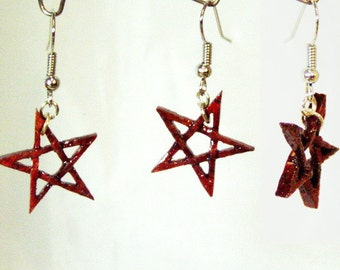"Earrings from red heart ""Star / Pentagram"""