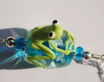 Green and Turquoise Frog Pendant, Lampwork Glass Bead Frog Necklace, Handcrafted Glass Frog, Artisan Jewelry, Artisan Glass, Glass Beads