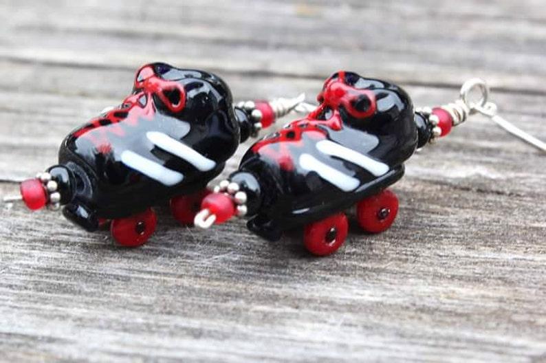 Lampwork Roller Skates Roller Skate Earrings Roller Derby Earrings Handmade Glass Beads Roller Derby Jewelry Glass Roller Skates
