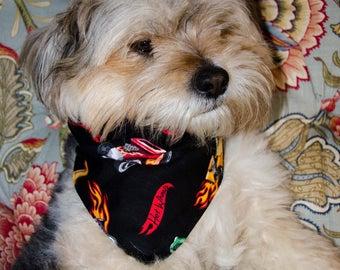 "Dog Bandana - Hot Wheels Print - Washable Cotton - Size Small- Snaps Together  - Reversable Dog Scarf - Puppy Bandana  17"" by 8 """