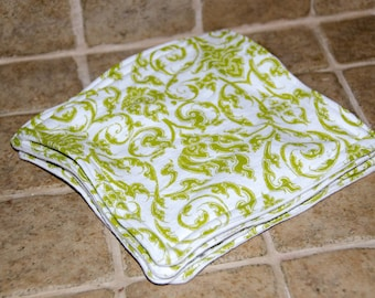 Wash Cloth - Dish Cloth - Baby Wipe - Cleaning Cloth- Dust Cloth Lime Green Flourish on White 5 Thirsty Layers And OH so Soft 7.5 x 7.5