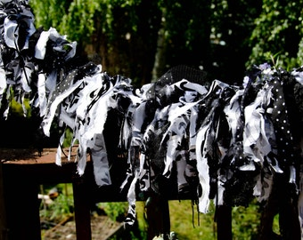 Black and White Fabric Garland  Measures 35 inches For your special occasion. Frayed Garland