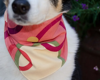 "Dog Bandana Medium Double Sided - Coral and Green Cotton - Dog Scarf -Dog Clothing - Dog Apparel - Puppy Bandana  9"" by  30"""
