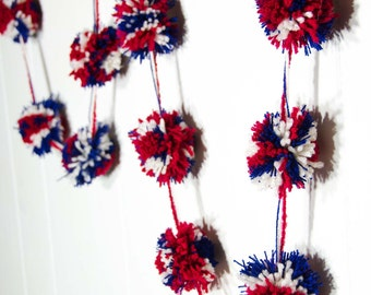 Patriotic Pom Pom Garland   (17)  3 inch Pom Poms   -  Red White and Blue Pom Pom Banner 4th of July Garland - Party Garland 80""