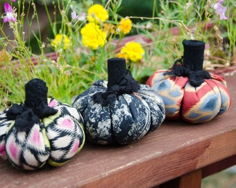"""3 Fabric Pumpkins for your Fall Decor 4"""" across 3 1/2"""" tall with Stem Thanksgiving Centerpiece or Halloween Decor Sale"""