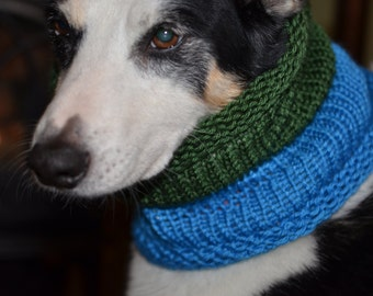 """Knit Dog Scarf/Cowl  Green and Blue  Size Medium -  14 Circumference by 18"""" long  Fits a dog with up to 20"""" Neck - Dog Clothing"""