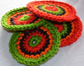 """4 Southwestern Crochet Coasters Great Gift These coasters are thick sturdy and absorbent measuring 5"""" across Sale 8.00"""