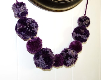 "Purple Jumbo Pom Pom Garland 2"" and 3"" Pom Poms - Photography Backdrop - Party Decor - Nursery - Baby Shower ~ Photography Prop"