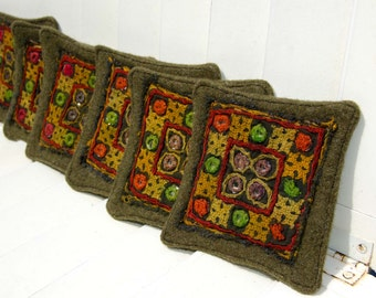 """6 Wool Coasters -  Kacky Green Primitive Coaster - Repurposed Coaster - Large Woodland Coaster - Perfect for your Cabin Decor 4 1/2"""" Square"""